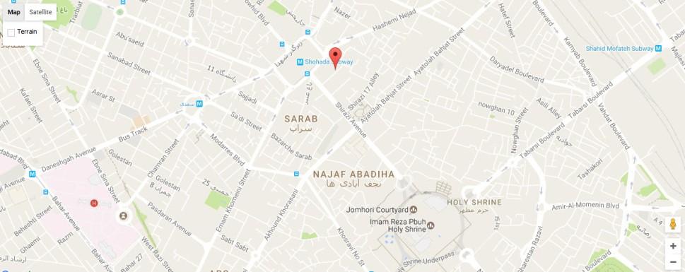 موقعیت هتل آلتون مشهد روی نقشه