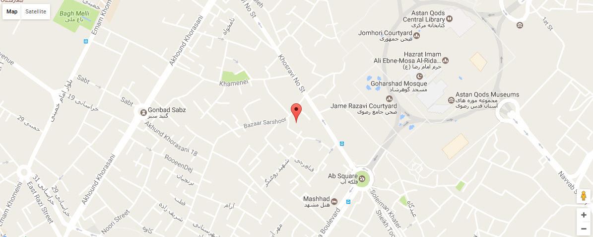 موقعیت هتل هانی پارس مشهد روی نقشه