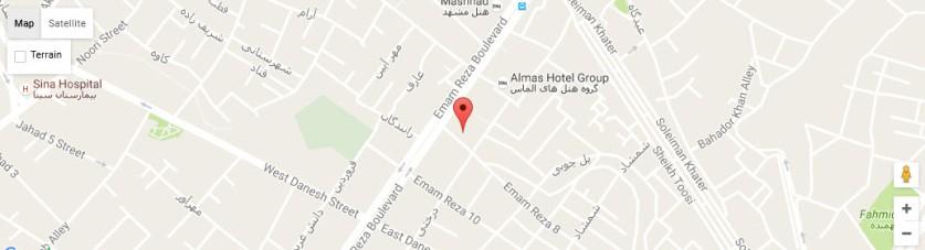 موقعیت هتل تهران مشهد روی نقشه
