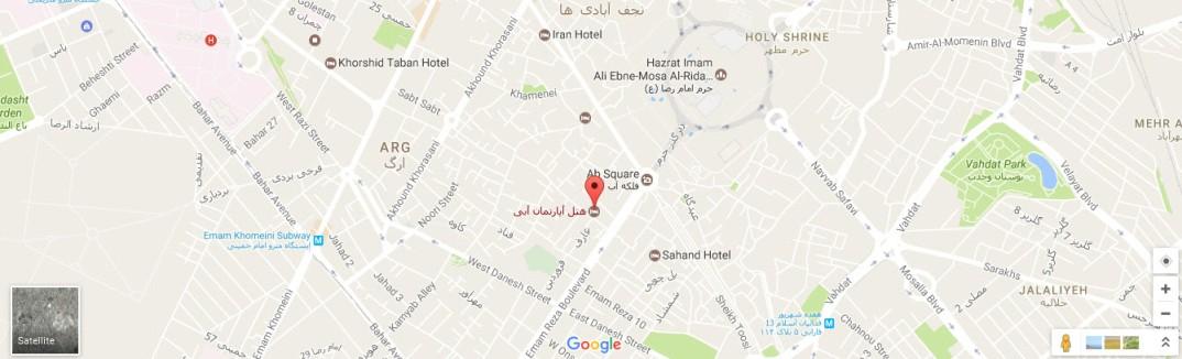 موقعیت هتل آبی مشهد روی نقشه