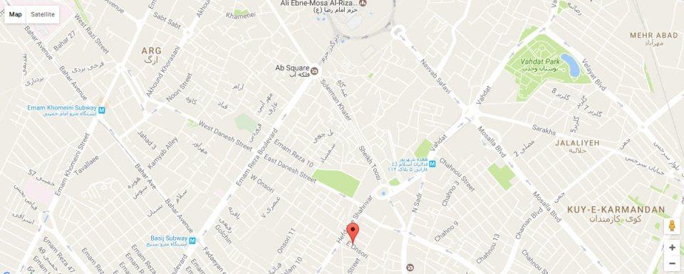 موقعیت هتل اسپینو مشهد روی نقشه
