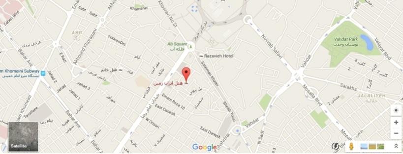 موقعیت هتل ایران زمین مشهد روی نقشه