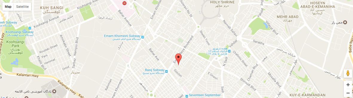 موقعیت هتل پارمیدا مشهد روی نقشه