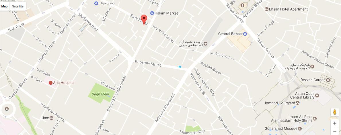 موقعیت هتل سعدی مشهد روی نقشه