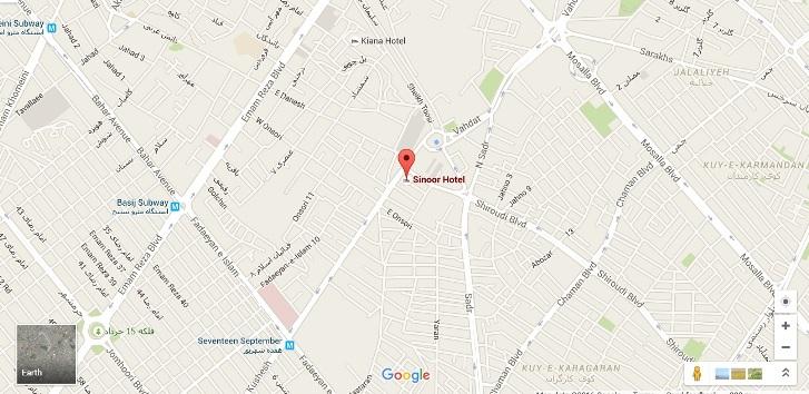 موقعیت هتل سی نور مشهد روی نقشه