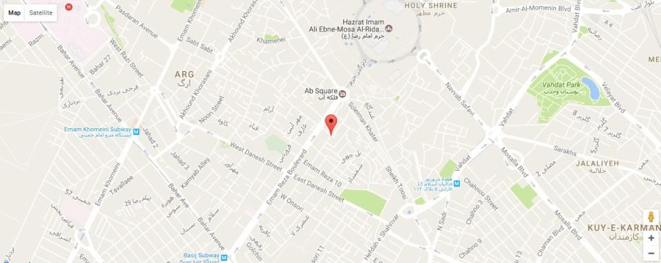 موقعیت هتل آپارتمان سفرا طلایی مشهد روی نقشه