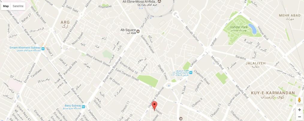 موقعیت هتل آپارتمان تیانا مشهد روی نقشه