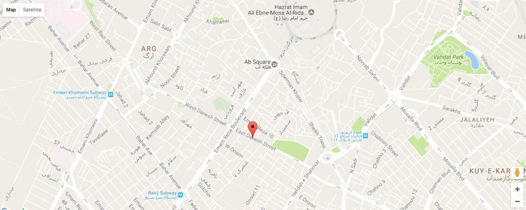 موقعیت هتل آپارتمان هیراد مشهد روی نقشه