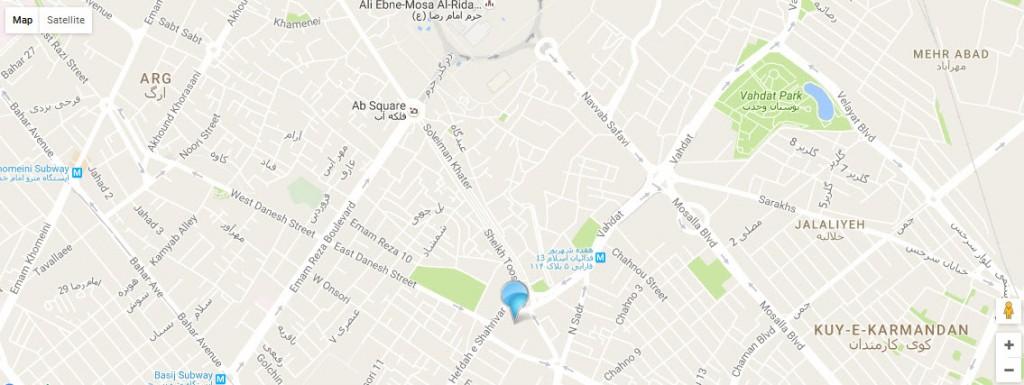 موقعیت هتل سفیران مشهد روی نقشه