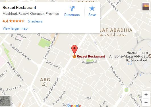 موقعیت رستوران رضایی شعبه آخوند خراسانی روی نقشه