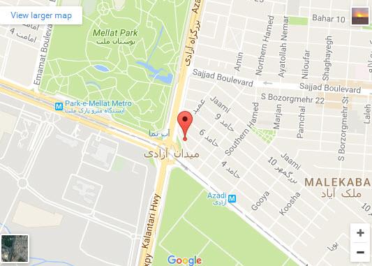 موقعیت رستوران رضایی شعبه پارک روی نقشه