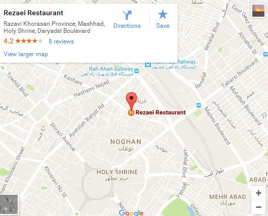موقعیت رستوران رضایی شعبه دریادل روی نقشه