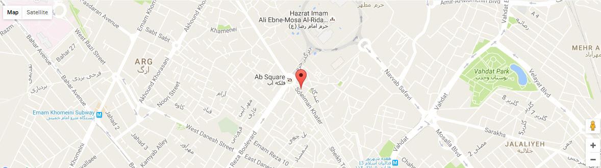 موقعیت هتل اترک مشهد روی نقشه