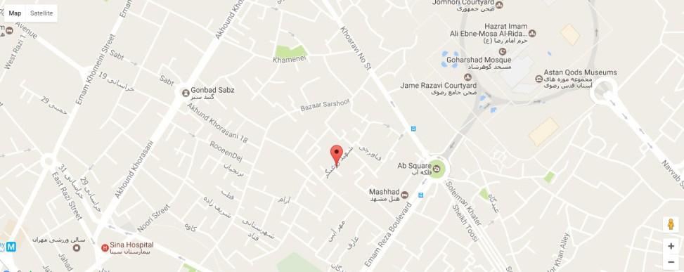 موقعیت هتل آپارتمان بهروز مشهد روی نقشه