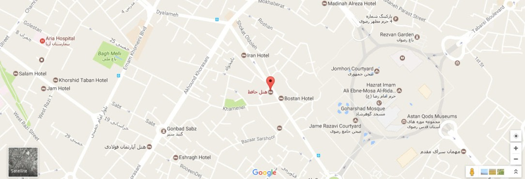 موقعیت هتل حافظ مشهد روی نقشه