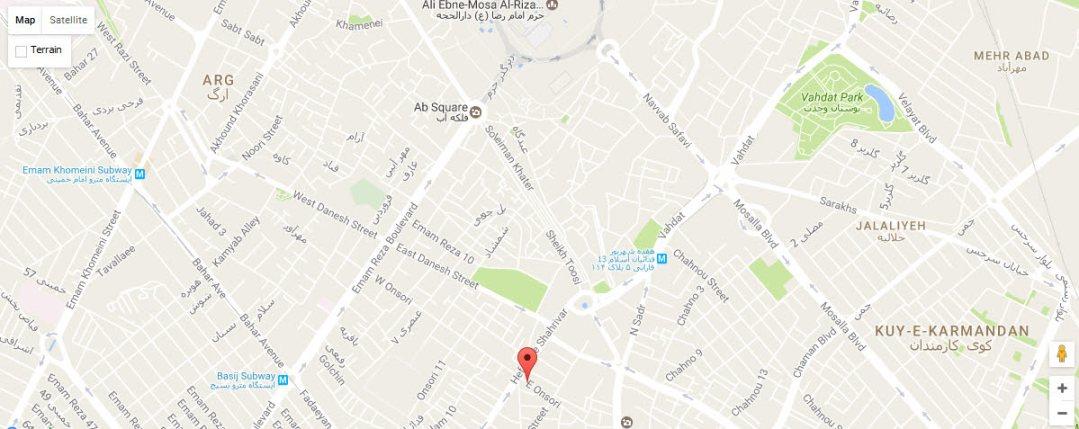 موقعیت هتل آپارتمان آروین مشهد روی نقشه