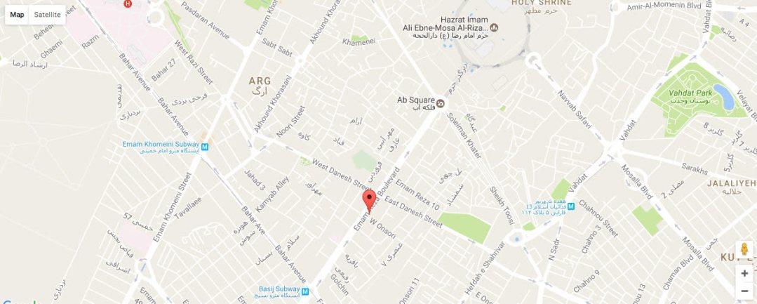 موقعیت هتل آپارتمان آسمان مشهد روی نقشه