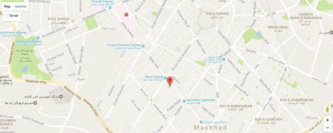 موقعیت هتل ایساتیس مشهد روی نقشه