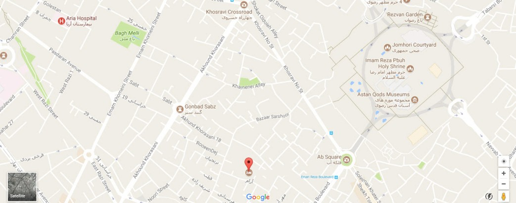 موقعیت هتل آپارتمان فیروزکوهی مشهد روی نقشه