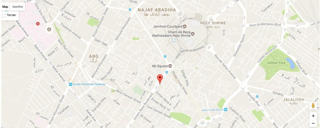 موقعیت هتل جواهر شرق روی نقشه
