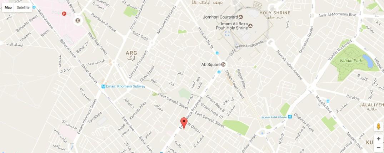 موقعیت هتل ذاکر مشهد روی نقشه