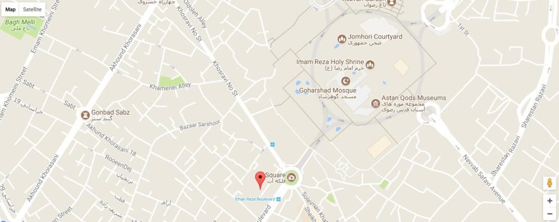 موقعیت هتل آپارتمان تمدن مشهد روی نقشه