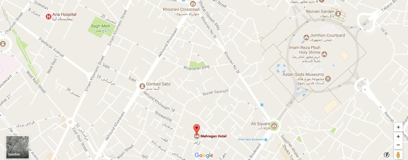 موقعیت هتل آپارتمان مهرگان مشهد روی نقشه