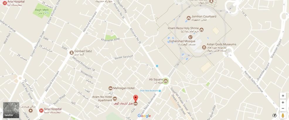 موقعیت هتل آپارتمان گوهر مشهد روی نقشه