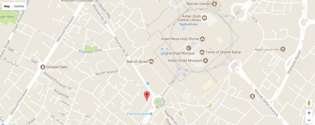 موقعیت هتل آپارتمان اخوان مشهد روی نقشه
