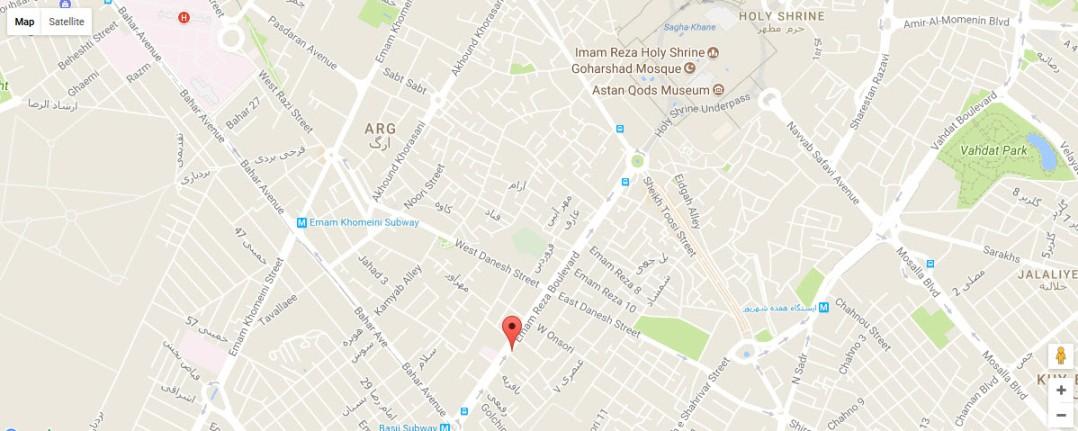 موقعیت هتل الماس 2 مشهد روی نقشه گوگل