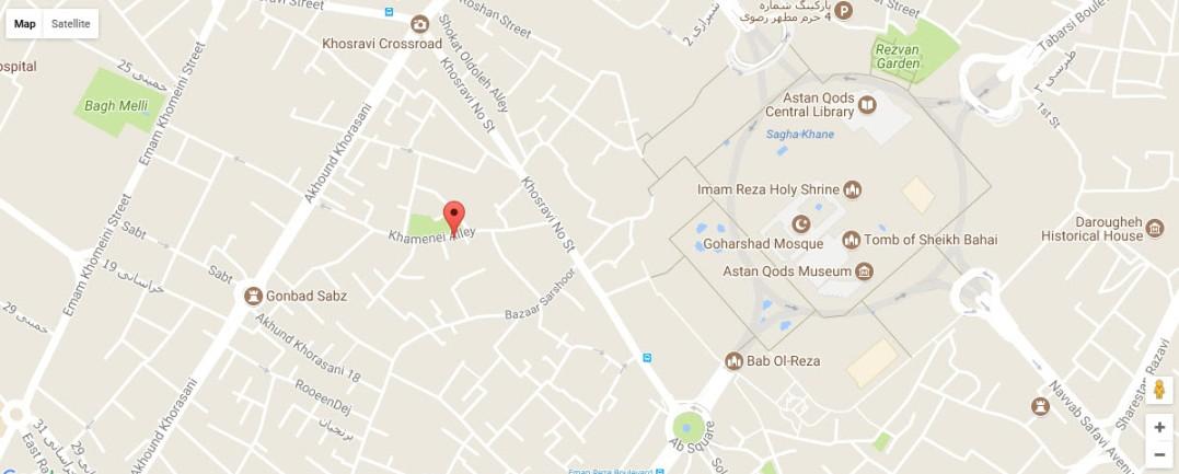 موقعیت هتل صابر مشهد روی نقشه گوگل